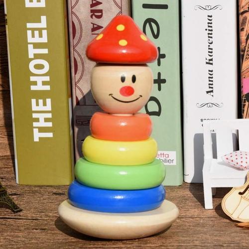婴幼儿趣味2不倒翁大号1七色彩虹叠叠乐玩具宝宝木质锻炼3一4周岁