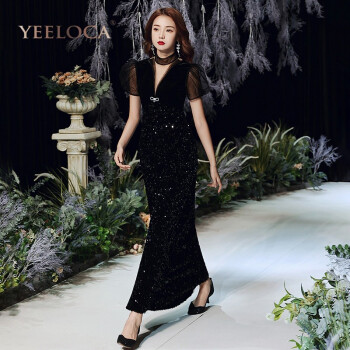 yeeloca品牌女装  泡泡袖优雅黑色2021款深v领丝绒气质晚礼服女主持人