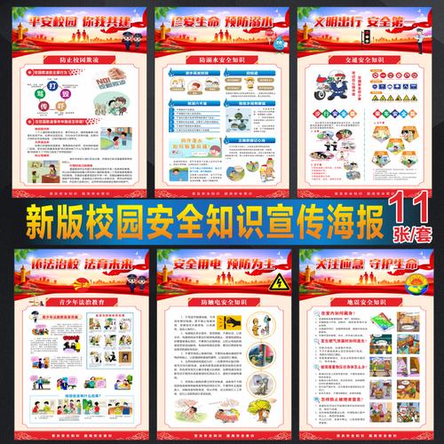 学校校园安全教育知识海报校园安全宣传海报宣传画防踩踏消防安全预防