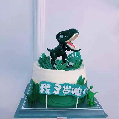 蛋糕摆件霸王龙蛋糕装饰情景蛋糕摆件玩偶关节可动