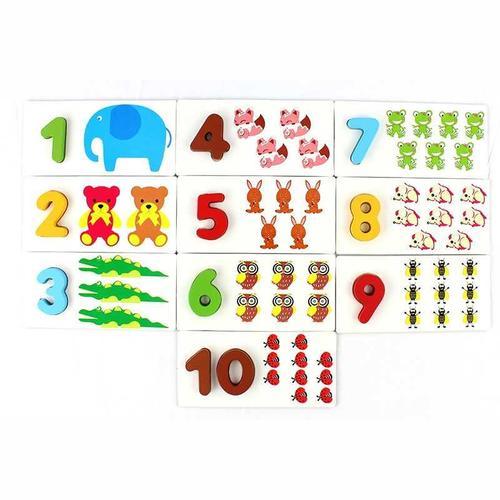 儿童早教益智认知数字卡片1--10木质宝宝识图启蒙学习玩具0-3-6