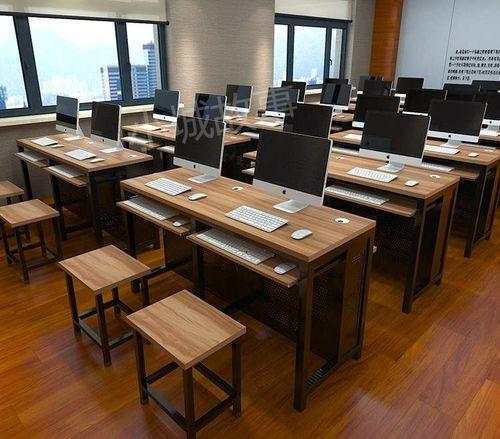 辅导教室组合微机室办公课桌椅学校机房单人教学培训双人电脑桌椅