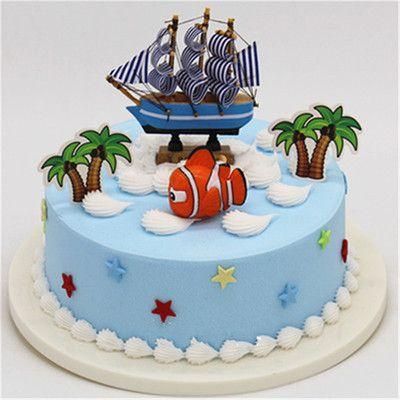 创意加高网红新款情景帆船卡通系列生日仿真蛋糕模型