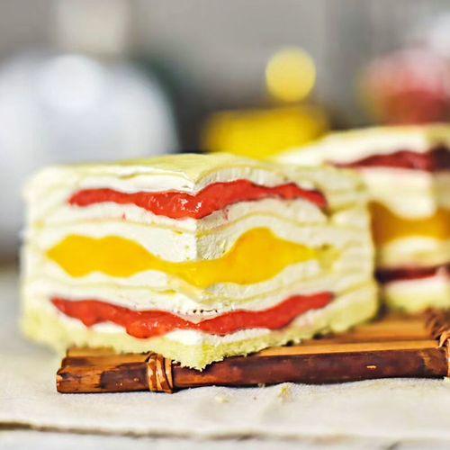 八拼千层蛋糕网红甜点彩虹培尔陪儿榴莲生日蛋糕甜品礼物 草莓芒果