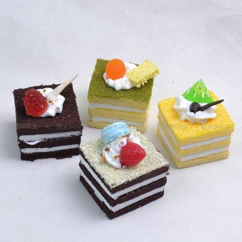 水果西点模型仿真面包假甜点装饰品仿真长方形小蛋糕