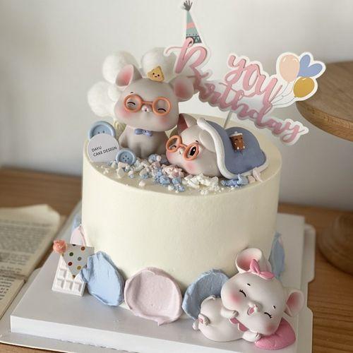可爱小老鼠生日蛋糕装饰摆件宝宝周岁生肖老鼠烘焙蛋糕装饰用配件