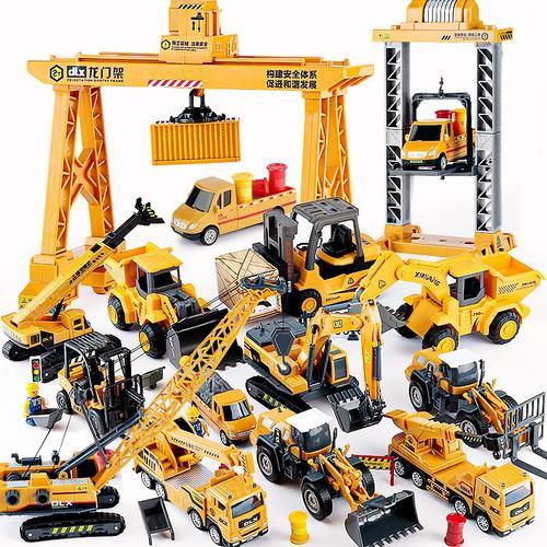 吊机车玩具车儿童男孩龙门吊挂钩塔吊起重机工程车四兄弟套装小号