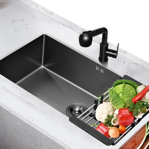 铂琳不锈钢加厚手工黑色水槽黑金刚厨房纳米洗菜盆洗碗水池洗菜池