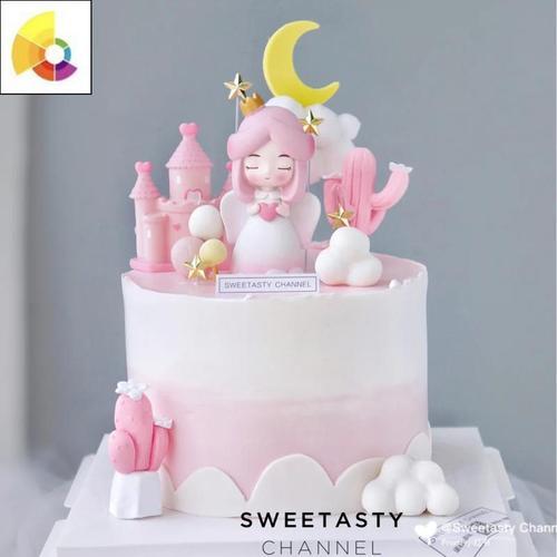 网红生日蛋糕装饰配件白衣天使抱星星爱心小翅膀女孩
