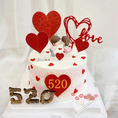 网红亲嘴娃娃烘焙摆件520七夕情侣接吻爱心love生日蛋糕装饰插件