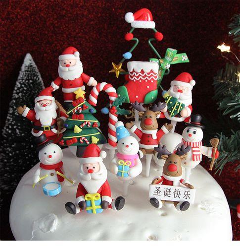 圣诞节蛋糕装饰摆件插牌插件甜品台圣诞树风铃丝带老人雪人屋花环