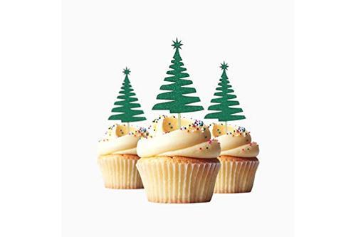 松树圣诞树圣诞树圣诞节快乐纸杯蛋糕装饰闪光卡片纸*