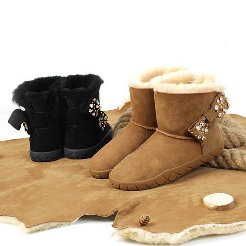 emugg雪地靴2019冬季新款澳洲羊皮毛一体镶钻蝴蝶结短