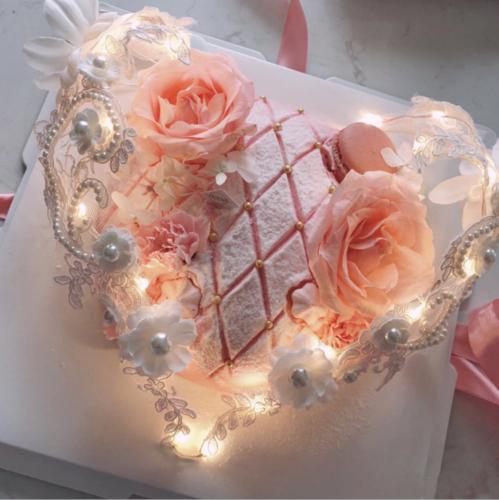 蛋糕装饰抖音同款网红蛋糕蕾丝花朵爱心形状蛋糕装饰