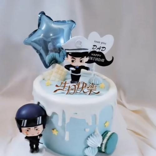 网红儿童小男孩男神生日蛋糕烘焙装饰摆件礼品