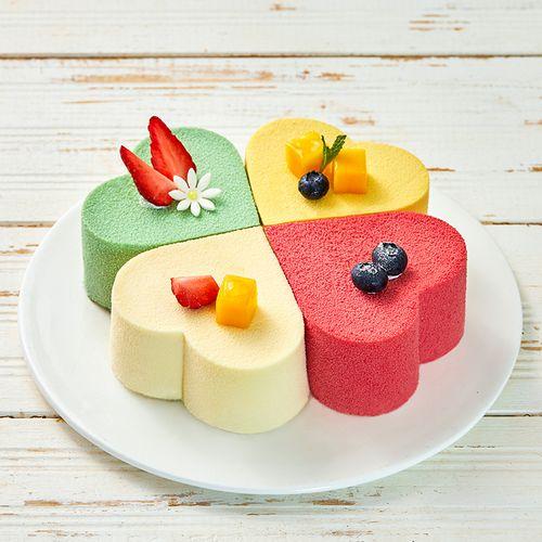 花漾年华,草莓,芒果,榴莲,抹茶,一次畅享四味慕斯夹心蛋糕(zj)