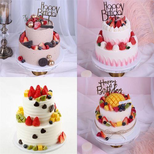 双层水果生日蛋糕模型仿真2021新款流行网红蛋糕橱窗