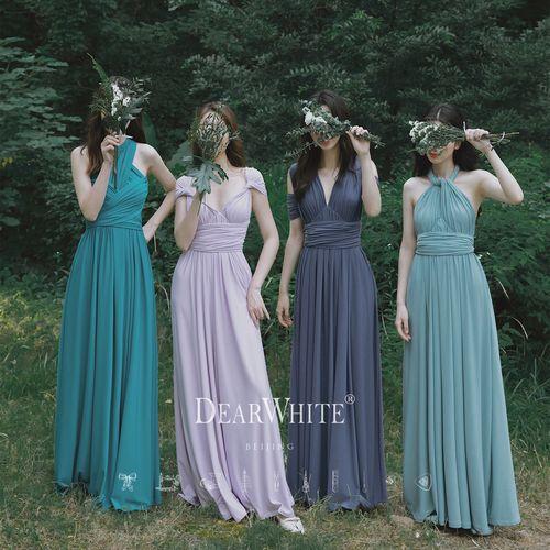 亲爱的白《浅水》2021新款夏女礼服结婚宴会伴娘服