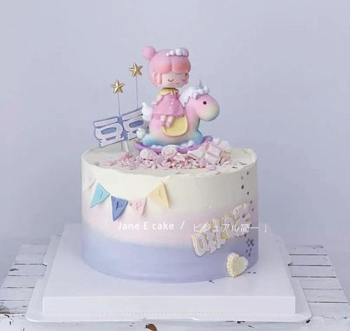 蛋糕烘培装饰彩虹色独角兽木马摇头王子公主创意卡通生日蛋糕摆件