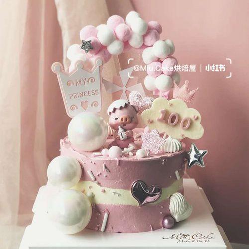 奶瓶小猪蛋糕装饰摆件卡通猪周岁宝宝儿童生日蛋糕